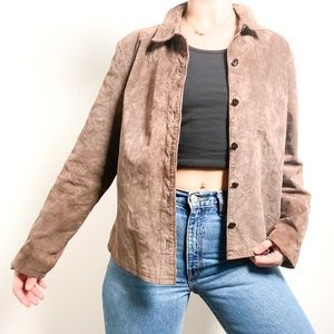 Vintage Brown Leather Button Up Shacket Jacket